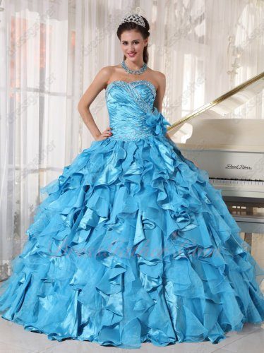 Beautiful Aqua Blue Organza and Silk Like Satin Mixed Ruffles Skirt Quince Ball Gown