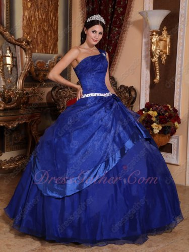Sapphire Blue Puffy Skirt Organza Overlay Quinceanera Dress Single One Shoulder