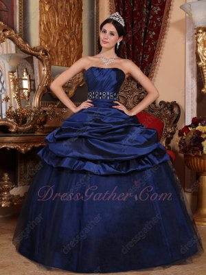 Bubble Taffeta and Flat Tulle Skirt Navy Blue Quinceanera Dress Where To Buy Online