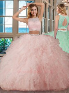 Pink Dense Tulle Ruffles Quinceanera Gown Two Pieces Top and Bottom Parted Show Waist