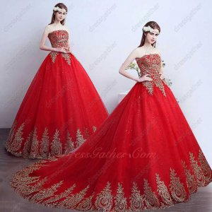 2019 Pretty Red Quinceanera Ball Gown Train Has Gold Pineapple Appliques Wave Hemline