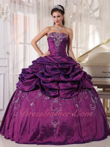 Archaic Dark Purple Quinceanera Season Dress Half Bubble and Flat Embroidery Skirt