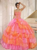 Rose Pink/Orange Alternant Crossed Organza Layers Military Lady Ball Gown Colorful