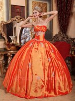 Strapless Bright Orange Red Plain Taffeta Palace Ball Gown With Crinoline