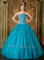Teal Blue Flat Layers Mesh Quinceanera Gown Boutique Twinkling Sequin Lining