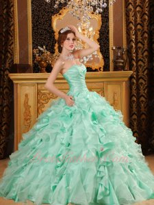 Fresh Apple Green Taffeta and Organza Mixed Ruffles Evening Ball Gown With Slip