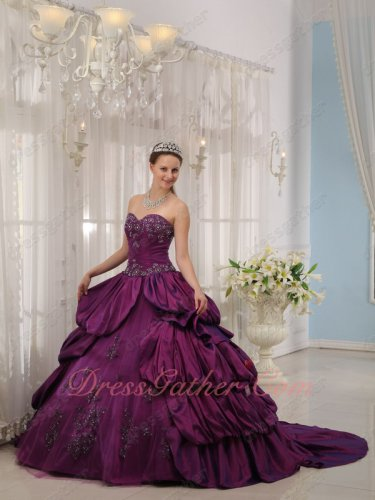 Side Layers Bubble Eggplant Purple Quinceanera Military Ceremony Gown With Court Train