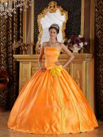 Fluorescence Organge Embroidery Quinceanera Ceremony Military Dress With Bowknot