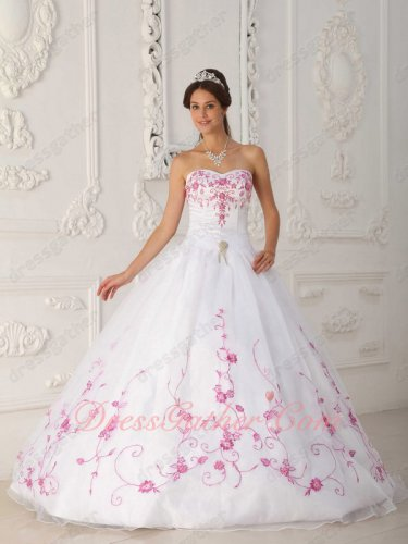 Pure White A-line Embroidery Western Quinceanera Ball Gown Bowknot Back