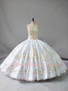 Pretty Plain Thick Satin White With Gold Embroidery Western Quinceanera Girls Ball Gown