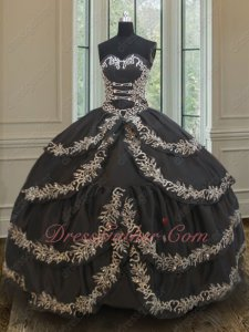 Cross Layers Skirt With Silver Embroidery Edging Quincean Ball Gown US Western Vintage
