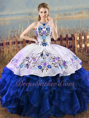 Sheer Scoop White Blouse/Overlay Royal Blue Ruffles and Embroidery Western Ball Gown