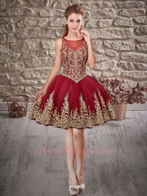 Top Seller Knee Length Short Quinceanera Prom Gown Wine Red With Golden Embroidery