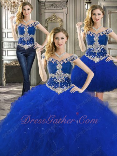 Off Shoulder Quinceanera Gown Deatachable Three Pieces Bodice/Ball Gown/Short Skirt