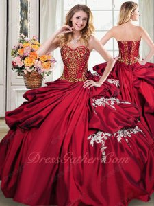 Floor Length Bubble Cake Quince Ball Gown Light Wine Red With Gold Consult Get Coupon