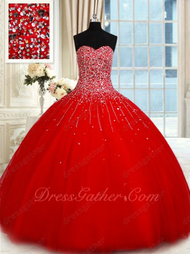 Dropped Waistline Scarlet Concert Proscenium Ball Gown Fully Twinkling Silver Beadwork