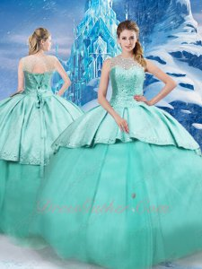 Mint Green Overlay Satin and Tulle Quinceanera Party Ball Gown With Detachable Cloak