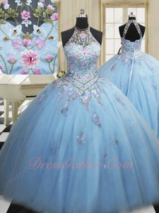 Halter Baby Blue V Waistline Colorful Embroidery Quinceanera Ball Gown Cute