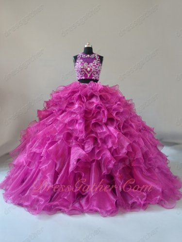 Two Pieces Deep Fuchsia Glossy Bright Organza Military Prom Ball Gown Factory Direct