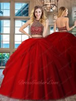 High Collar Rhombus Beadwork Blouse Pick-up Overlay Red Quinceanera Dress Two Pieces
