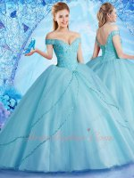 Off Shoulder Ice Blue Mesh Ball Gown For Quinceanera Birthday Ceremony Boutique