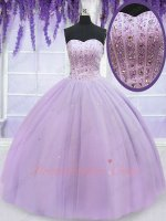 Beaded Fishlines Bodice Lilac Multilayers Quinceanera Ball Gown With Big Petticoat