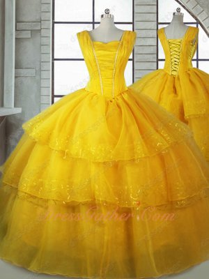 Square Beauty and The Beast Theme Quinceanera Ball Gown Three Layers Organza and Sequin