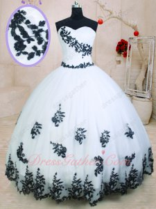 Princess Quinceanera Celebrity Pageant Ball Gown White With Black Applique Details