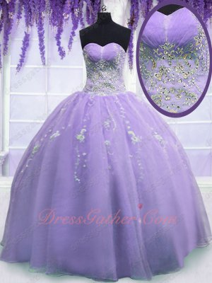Silver Embroidery Lavender Organza Plain Puffy Quinceanera Ball Gown Gorgeous