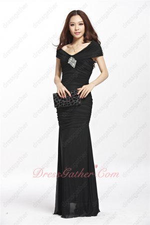 Portrait V-Neck Black Elastic Chiffon Shirred Night Club Dress Back Cut Out