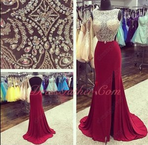 Fully Transparent Beading Bodice Cherry Red Elastic Spandex Split Gown Cut-Out Back
