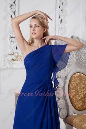 One Shoulder Flouncing Sleeve Royal Blue Chiffon Graceful Formal Gowns 2019