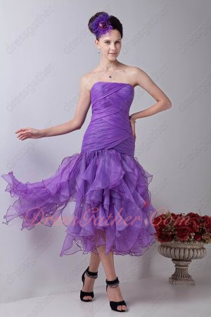 Sweetheart Blue Violet Organza Ruffles Tea Length Women Evening Dress Essentials