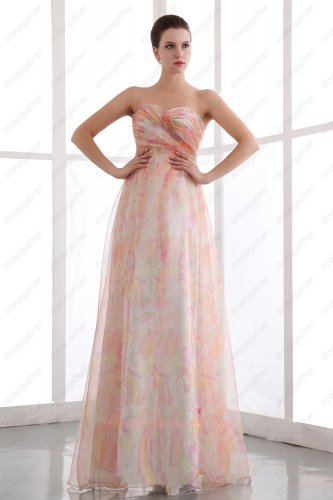Gauzy 30D Chiffon Print Sweetheart Colorful Top Seller Fashion Unique Formal Prom Dress