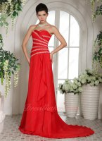 Radial Lacework Beaded Strips Red Chiffon Formal Prom Dress Wholesale Custom Made