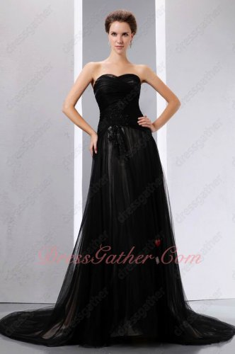 Black Tulle Champagne/Nude Lining Celebrity Evening Party Dress Ebay Best Seller
