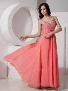 Dual Straps Watermelon Chiffon Young College Girl Formal Prom Gowns Fresh