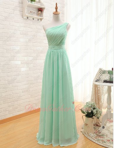Light-footed One Shoulder Oblique Ruching Mint Slim Evening Dress Under 80