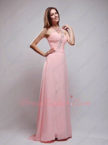 Blush Pink Color Of 2019 AB Crystals One Strap Soft Chiffon Formal Full Gowns Seniors