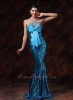 Sparkling Aqua Blue Paillette Bowknot Decorate Mermaid Prom Gowns Package Hips