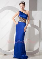 Look Slim One Shoulder Royal Blue Petite Prom Dress With Leopard Printed Joint