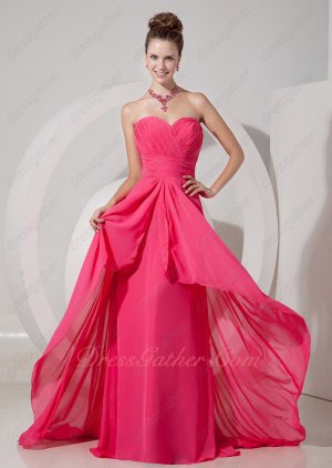 Magenta Chiffon Color Of Summer Opening Front Senior Formal Prom Dress Little Train