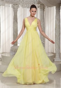 Daffodil Yellow Chiffon Deep V Neck Quality Prom Dresses Music Festival