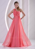 Princess Junior One Shoulder Florets Watermelon Formal Full Gowns Most Choice