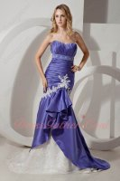 Flattering Blue Violet Goddess Evening Formal Party Dress Mermaid Fishtail With Lace