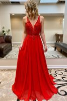 Flattering Sharp Red Brush Train Prom Masque Party Dress Sexy Back