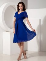 V-neck Royal Blue Chiffon Mother Of The Bride Dress For Beach Wedding Ceremony