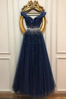 Attractive Off Shoulder Flouncing Neck Navy Blue Annual Meeting Evening Gown