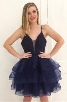 Tiered Horsehair Edging 3 Layers Skirt Beaded Cocktail Dress Navy Blue