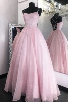 Twinkle Spaghetti Strap Beaded Belt Sparkle Tulle Pink Prom Gown Little Puffy